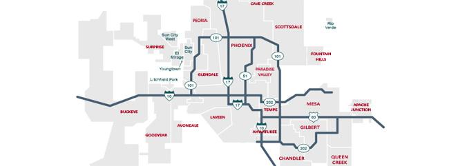 Phoenix area map with main highways and towns labeled - Phoenix Valley Map, Gilbert, Chandler, Mesa, Queen Creek, Scottsdale, Tempe - Bill Salvatore, Arizona Elite Properties 602-999-0952 - Arizona Real Estate