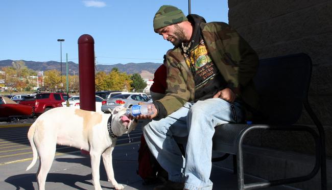 Veteran with Dog, homeless veteran, helping veterans, Veteran Discounts - Bill Salvatore, Realty Excellence East Valley - Arizona Elite Properties - 602-999-0952