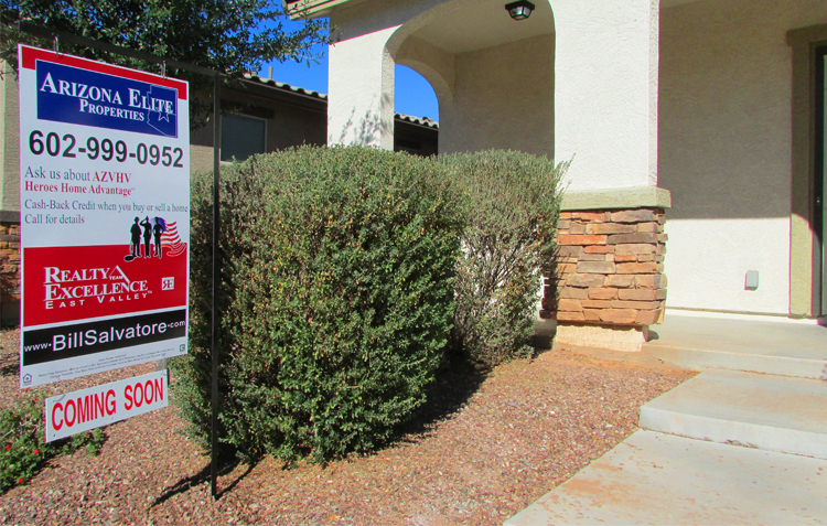 For Sale sign in front of white southwest style home - Gilbert Home for Sale, Gilbert Arizona 85142, 85204, 85206, 85209, 85212, 85225, 85233, 85234, 85249, 85286, 85295, 85296, 85297, 85298 - Bill Salvatore, Arizona Elite Properties 602-999-0952 - Arizona Real Estate