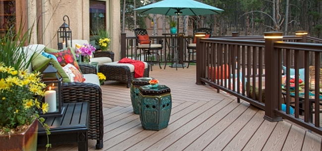 Deck with patio furniture, composite decking