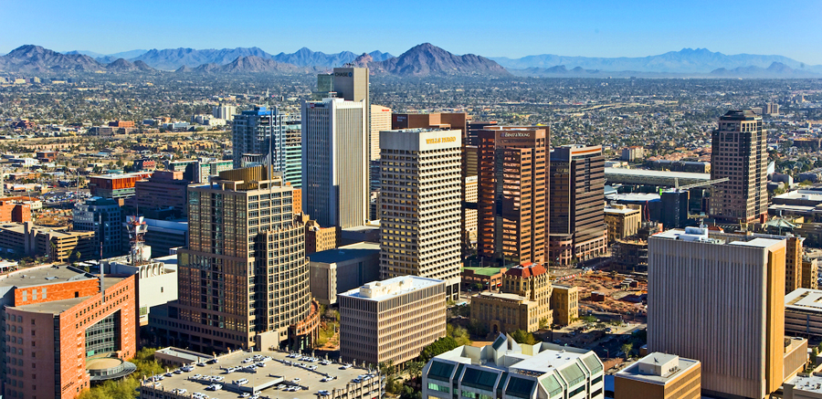 Phoenix skyline backed by mountains - AZCRE Arizona Commercial Real Estate header, Commercial Real Estate Listings, Commercial Office, Commercial Land, Retail and Hospitality - Bill Salvatore, Arizona Elite Properties 602-999-0952 - Arizona Real Estate
