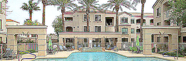 sketch-style, distant view of condominium building across the pool - 5303 N 7th St, Phoenix AZ - Popular Carlyle Condominiums, minutes to shopping, restaurant, city services - Bill Salvatore, Arizona Elite Properties 602-999-0952 - Arizona Real Estate