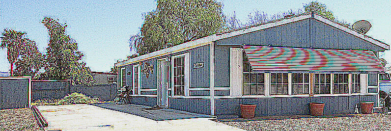 sketch of blue manufactured home with white trim, tall trees in the background - 161 N 88th Place, Mesa Arizona - Bill Salvatore, Arizona Elite Properties 602-999-0952