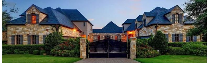 Gated, sprawling stone mansion with gabled roofs - Selena Gomez's Fort Worth Texas Home for Sale - Bill Salvatore, Arizona Elite Properties 602-999-0952 - Arizona Real E